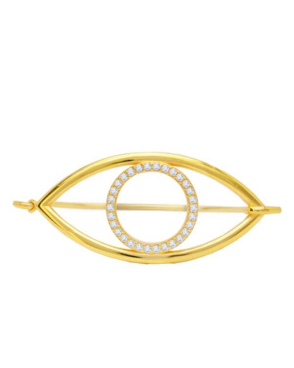 Ένα κομψό και μοντέρνο βραχιόλι από επιχρυσωμένο ασήμι 925 της σειράς ΚΙΚΙ. Τραβήξτε τα βλέμματα επάνω σας φορώντας αυτό το υπέροχο κόσμημα.