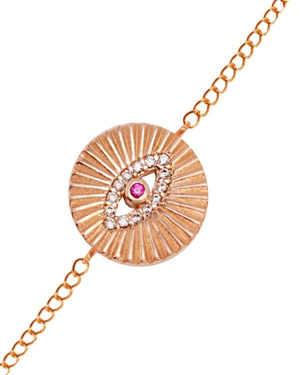 Ένα όμορφο και μοντέρνο βραχιόλι από ροζ επιχρυσωμένο ασήμι 925 της σειράς KIKI. Δώστε στυλ στην εμφάνισή σας με αυτό το υπέροχο κόσμημα.