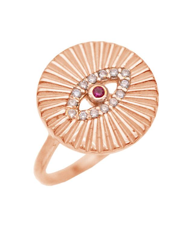 Ένα όμορφο και μοντέρνο δαχτυλίδι από ροζ επιχρυσωμένο ασήμι 925 της σειράς KIKI. Δώστε στυλ στην εμφάνισή σας με αυτό το υπέροχο κόσμημα.